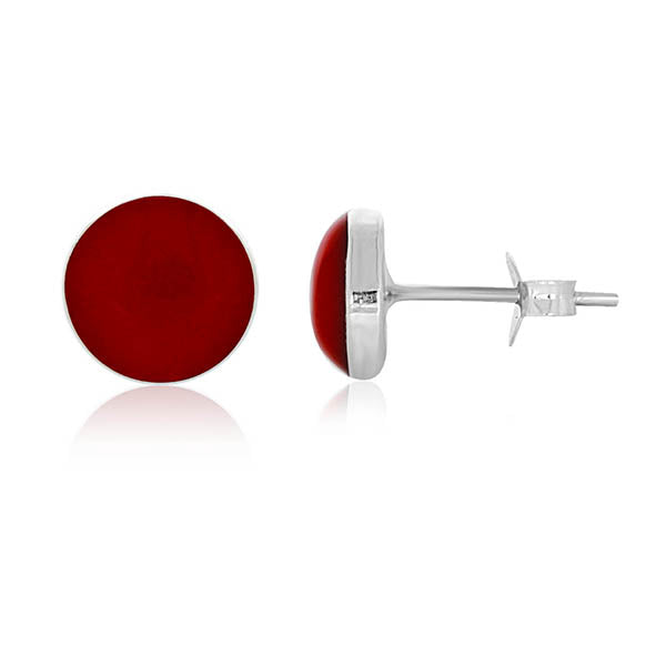Silver Round Red Bamboo Stud Earrings