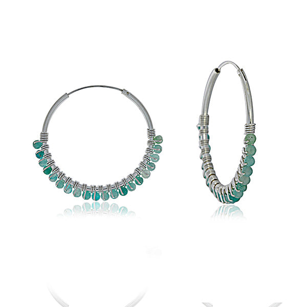 Silver Hoop Earrings With Amazonite Beads