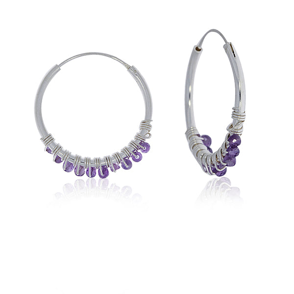 Silver Hoop Earrings With Amethyst Beads