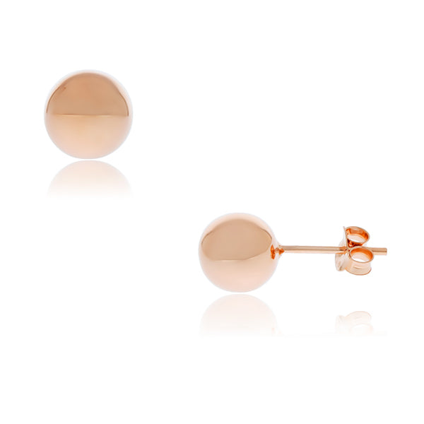 Rose Gold Plated Round Ball Stud Earrings - 8mm