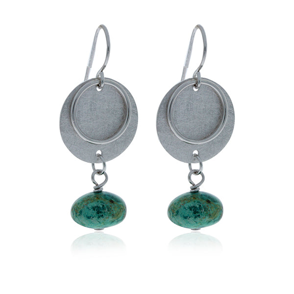 Silver Disc Drop Earrings With Turquoise Ball