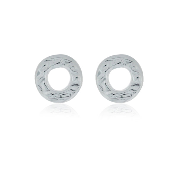 Silver Small Hammered Circle Studs