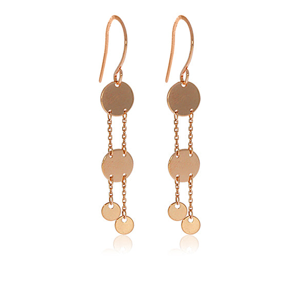 Rose Gold Plated 4 Disc Drop Earrings