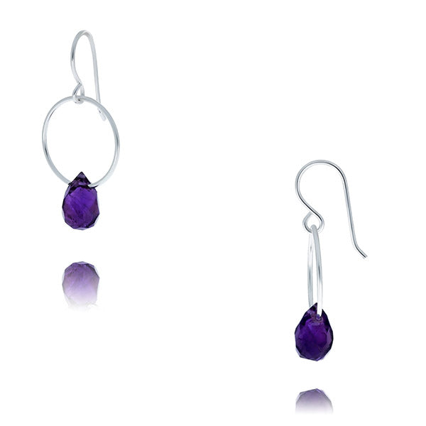 Silver Drop Earrings With Amethyst