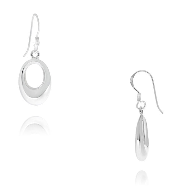 Silver Oval Cut Out Drop Earrings