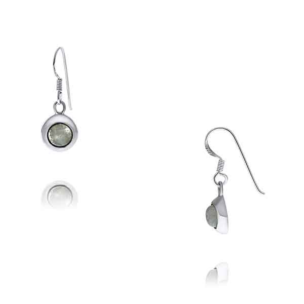 Onatah Sterling Silver Round Wide Bezel Drop Moonstone Earrings With Shephooks
