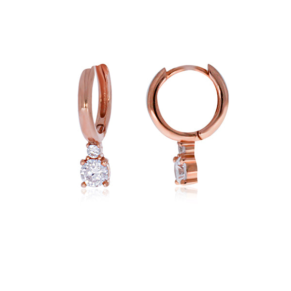 Rose Gold Plated Huggie Earrings With Drop CZ
