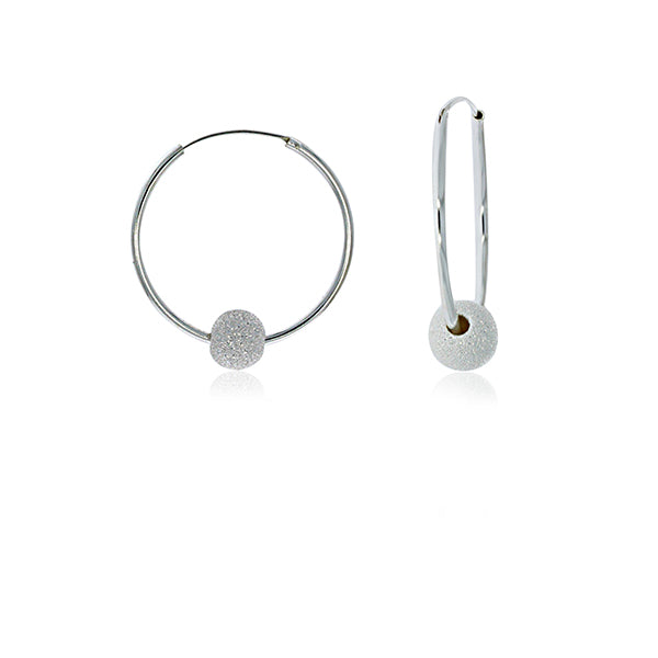 Silver Medium Hoops With Glitter Ball