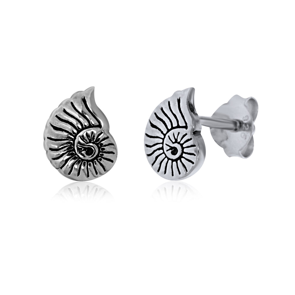 Silver Nautilus Shell Studs