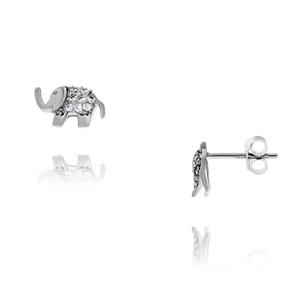 Silver Elephant Stud Earrings With CZ