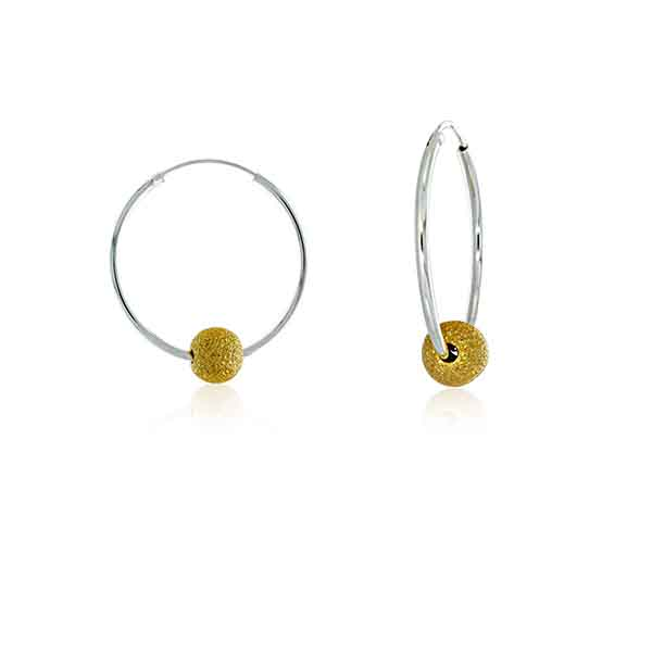 Silver Medium Hoops With Gold Glitter Ball - 30mm