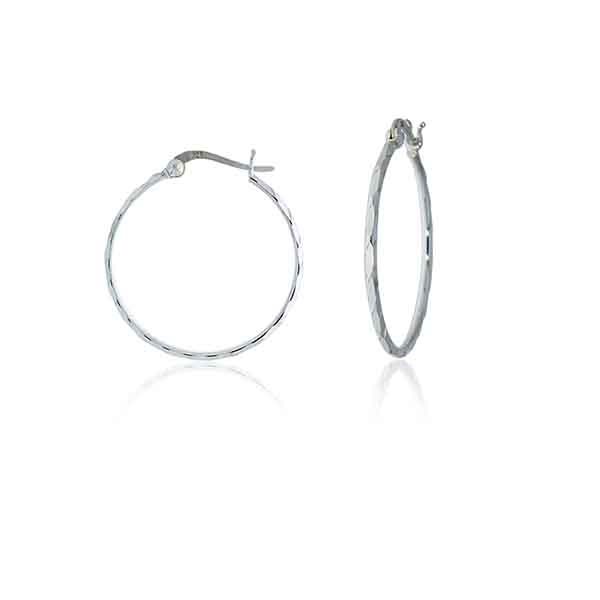 Silver Faceted Medium Hoop Earrings