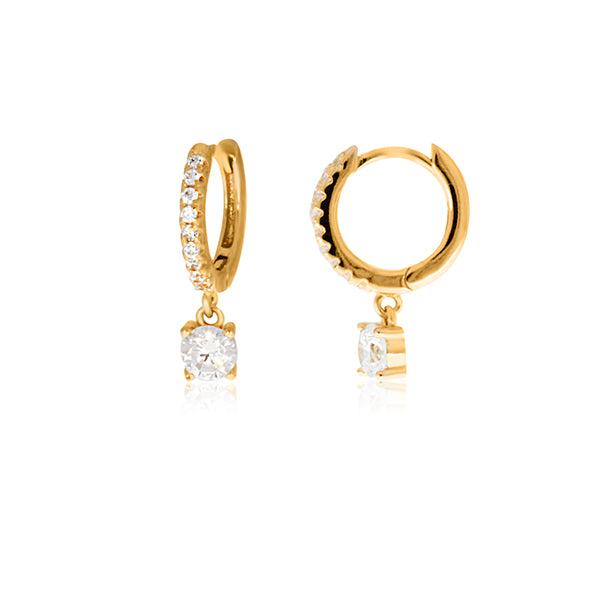 Silver Yellow Gold Plated CZ Drop Huggie Earrings