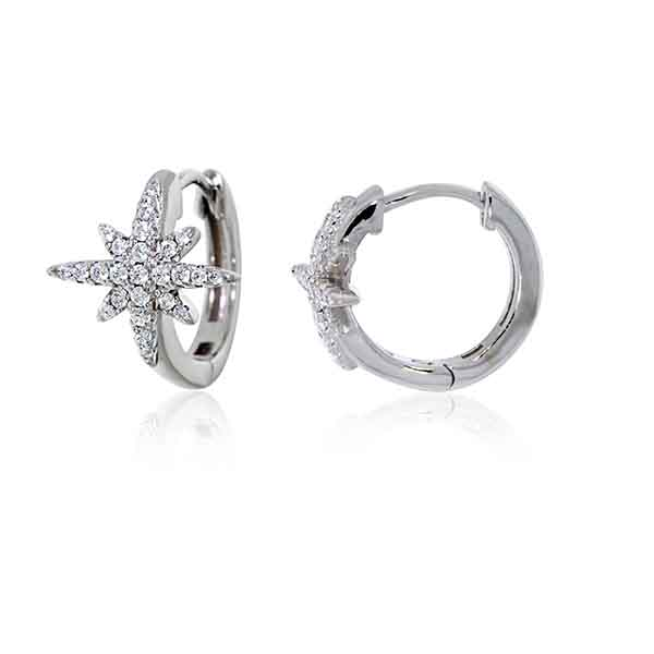 Silver CZ Star Huggie Earrings