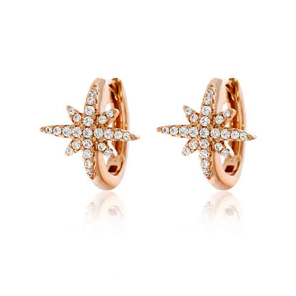 Rose Gold Plated CZ Star Huggie Earrings