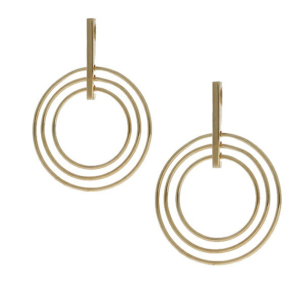Mojo Yellow Gold Plated Brass Multi Circles Drop Earring
