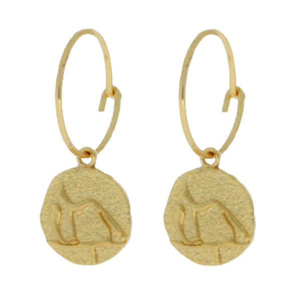 Onatah Mojo Gold Wire Hoop Earring With Egyptian Dog