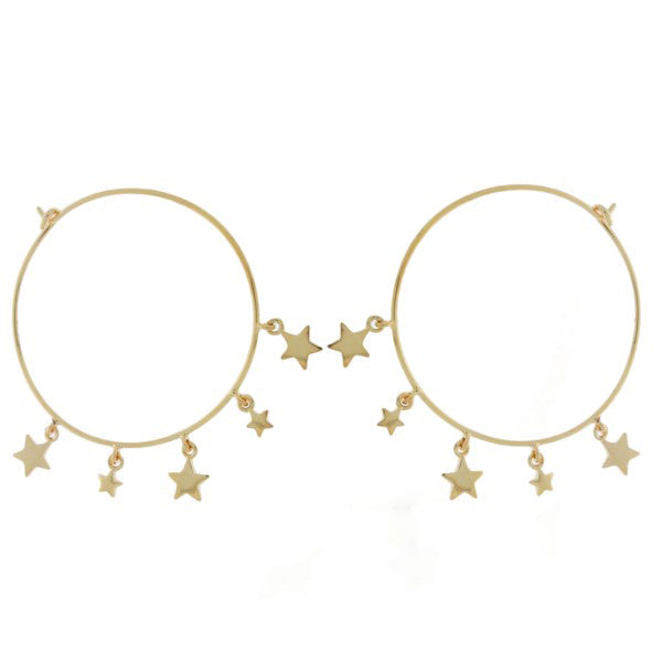 Yellow Gold Plated Wire Hoop Earrings With Stars