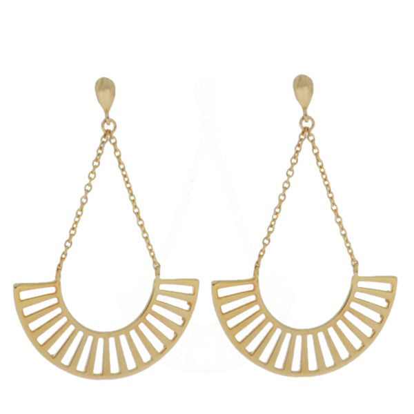 Mojo Yellow Gold Plated Geometric Stud Drops