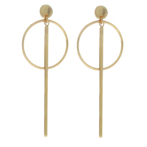 Mojo Yellow Gold Plated Circle And Bar Earrings