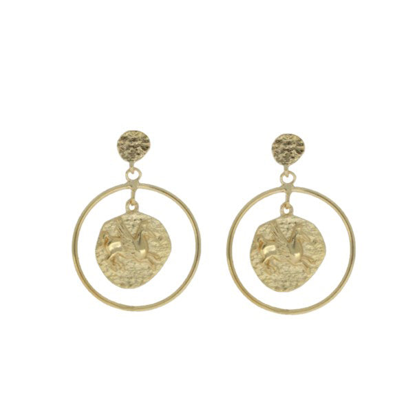 Mojo Yellow Gold Plated Pegasus Drop Earrings