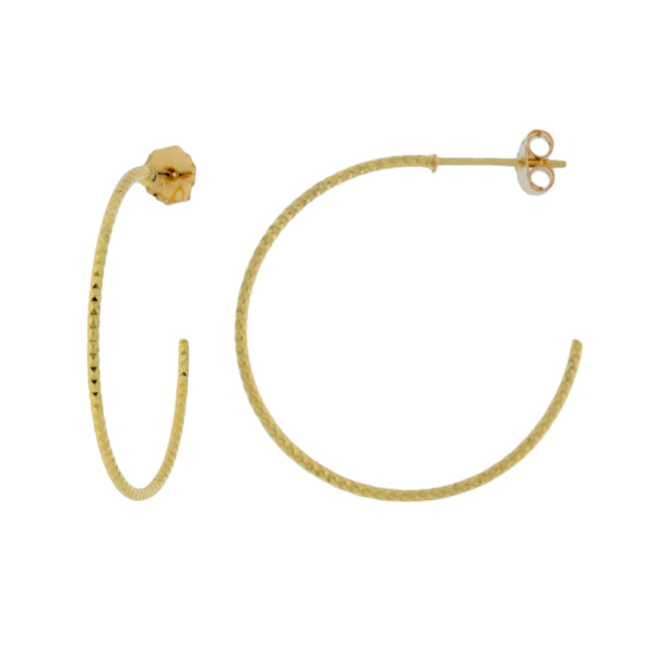 Mojo Yellow Gold Plated Faceted Hoop Earrings
