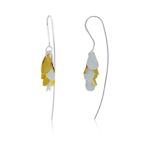 Silver And Yellow Gold Plated Petals Drop Earrings