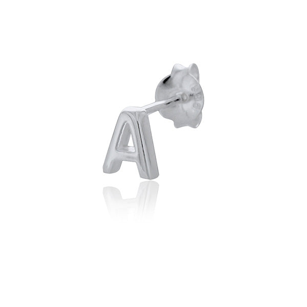 Mojo Silver Single Initial A Stud Earring