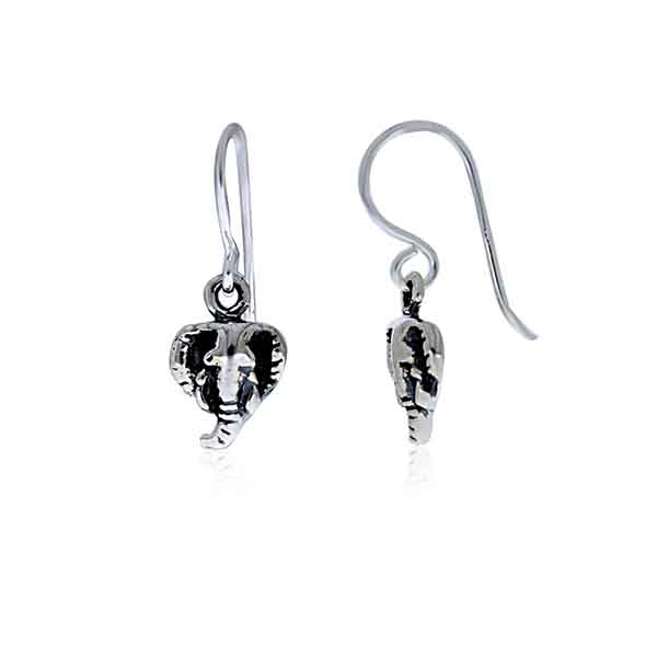 Silver Oxidized Elephant Head Earrings
