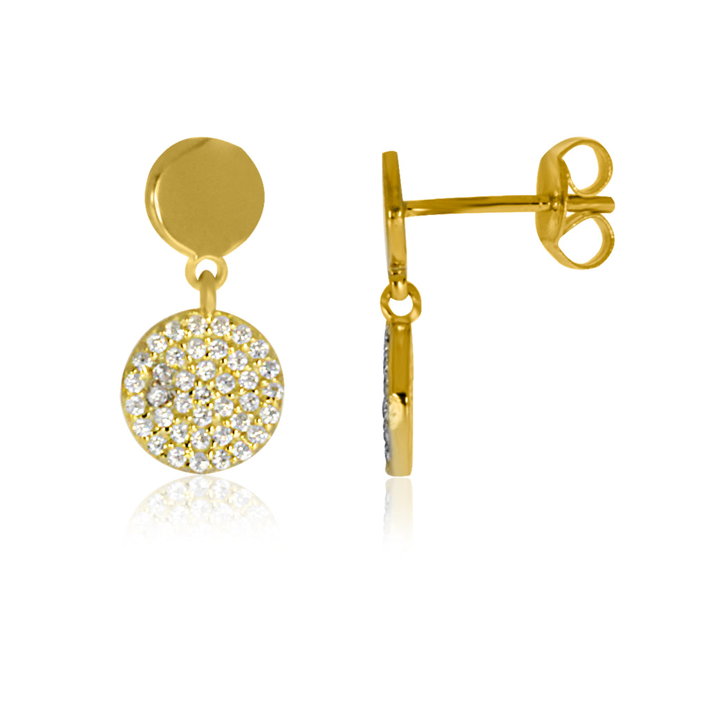Yellow Gold Plated Disc Stud With Cz Set Disc Drop Earrings