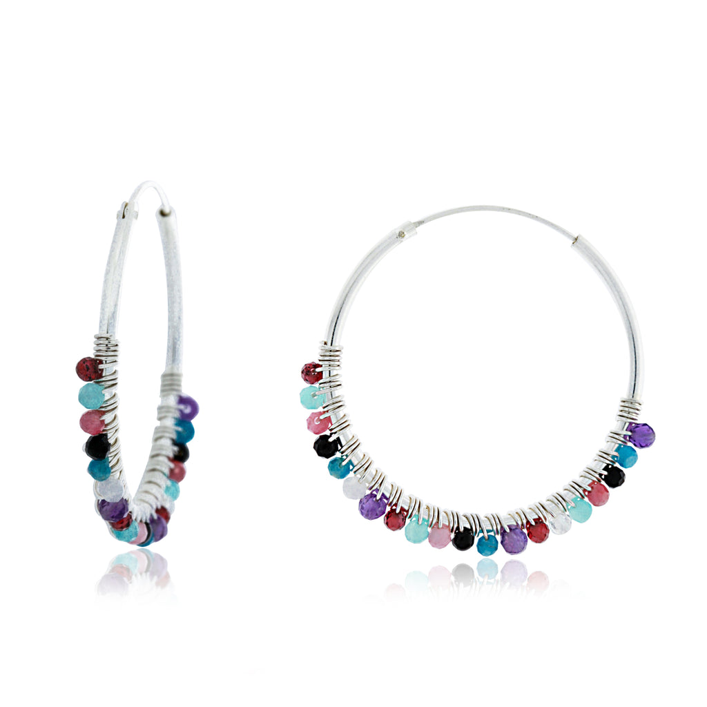 Silver Hoop Earrings With Coloured Beads