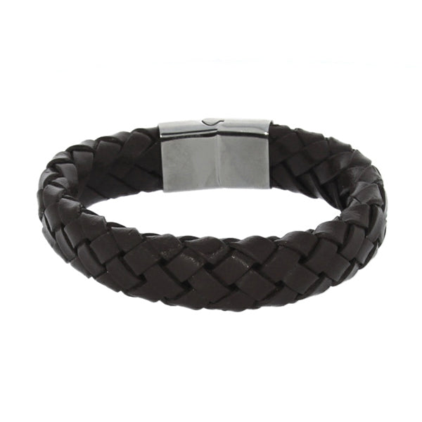 Wide Braided Brown Leather Gents Bracelet