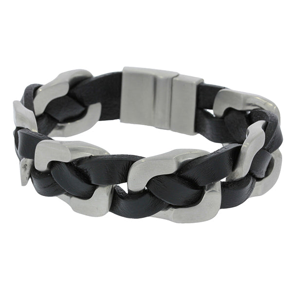 Wide Braided Black Leather Bracelet With Stainless Steel Clasp