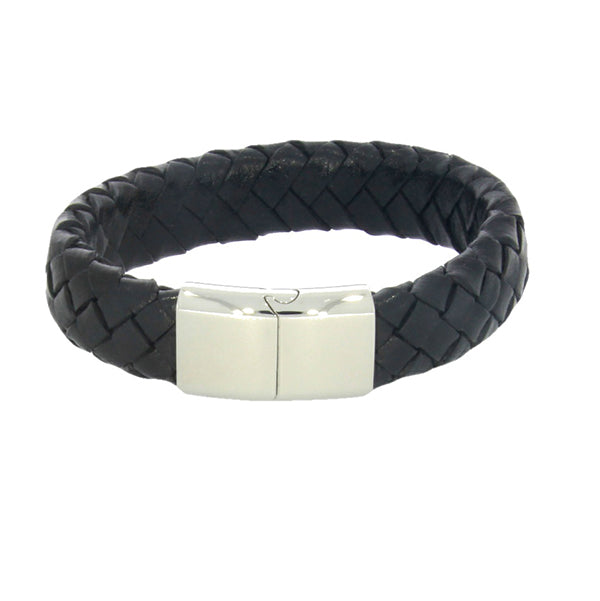 Black Leather Wide Braided Bracelet