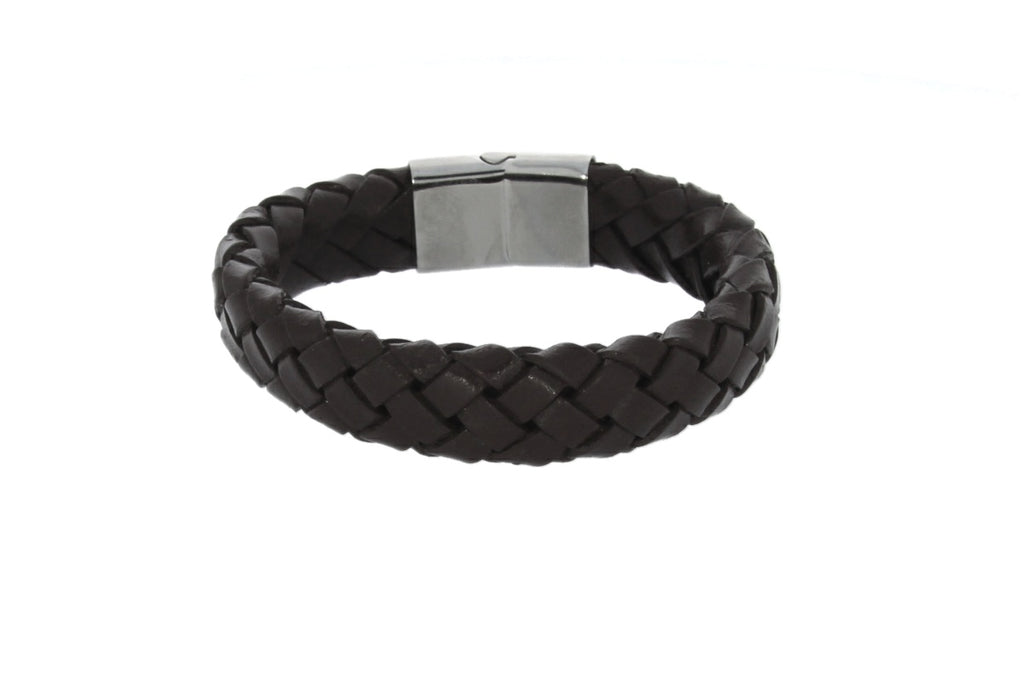 Wide Braided Brown Leather Bracelet