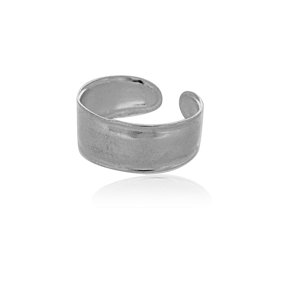 Silver Toe Ring - Wide With Rails