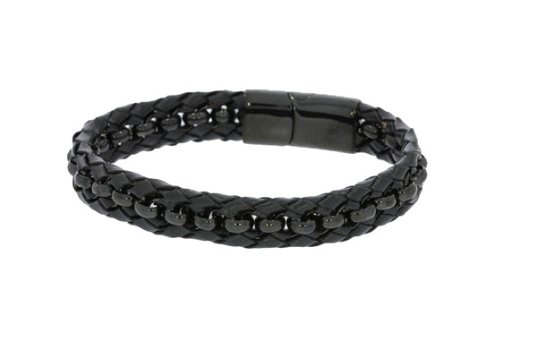 Black Leather Braided Bracelet With Polished Black Chain Throughout And Polished Black Clasp