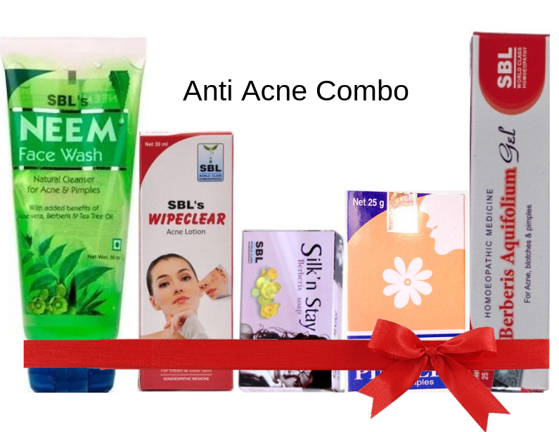 Anti Acne Combo - Sbl Pimplex tab, Wipeclear lotion, Neem face wash, Berberis gel & soap 12% off
