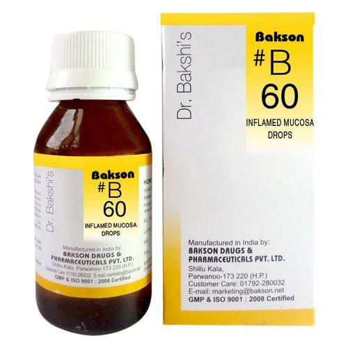 Dr.Bakshi B60 Inflamed Mucosa drops for eye irritation, skin rashes, catarrh