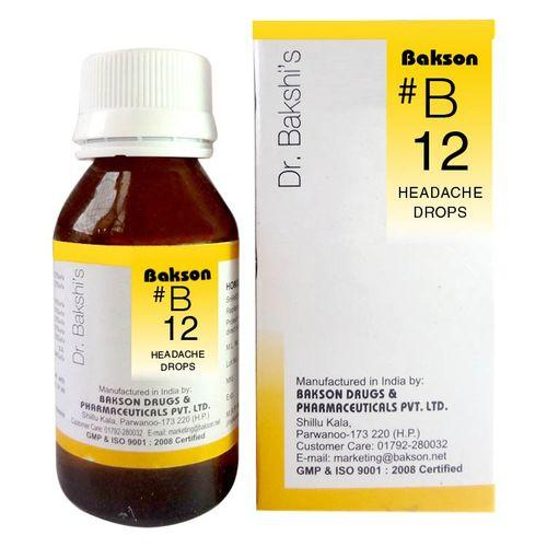 Dr.Bakshi B12 Headache Drops for Migraine, Nervous Headaches
