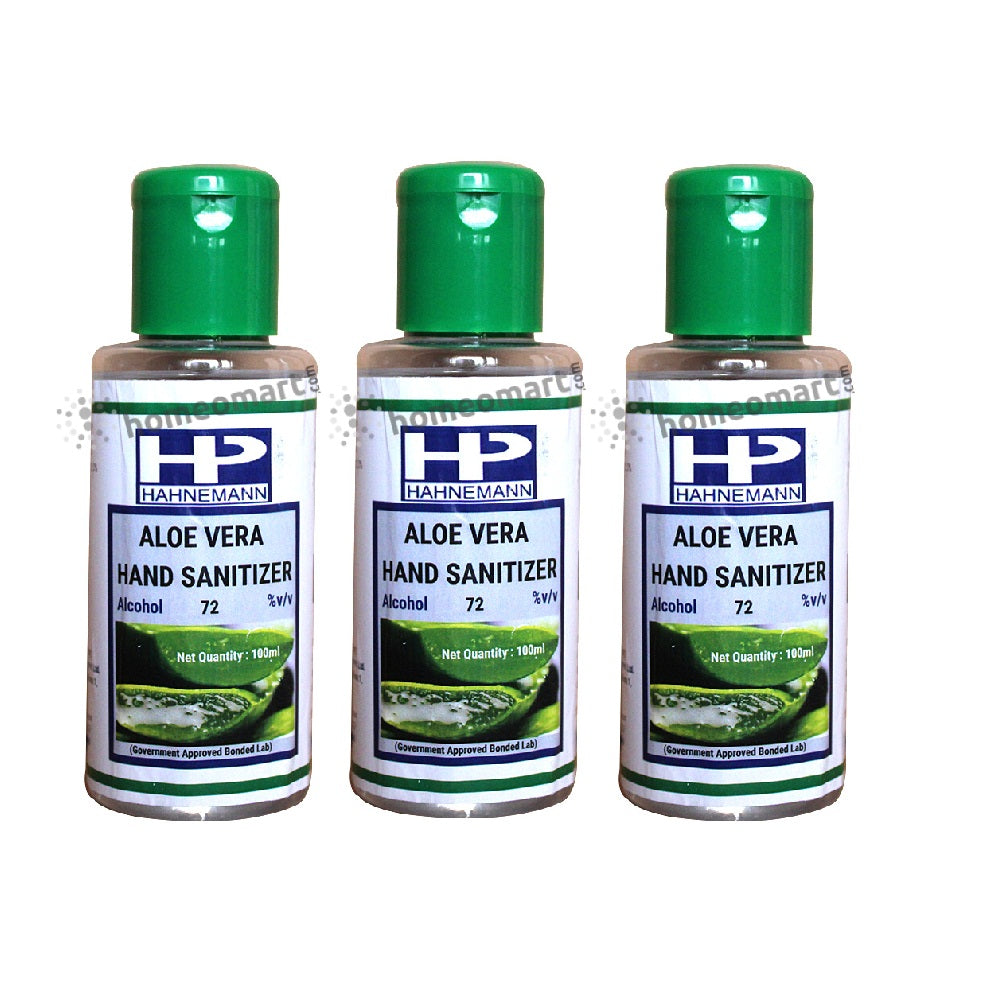 Hahnemann Aloe Vera Hand Sanitizer (Pack of 3, 50, 100)