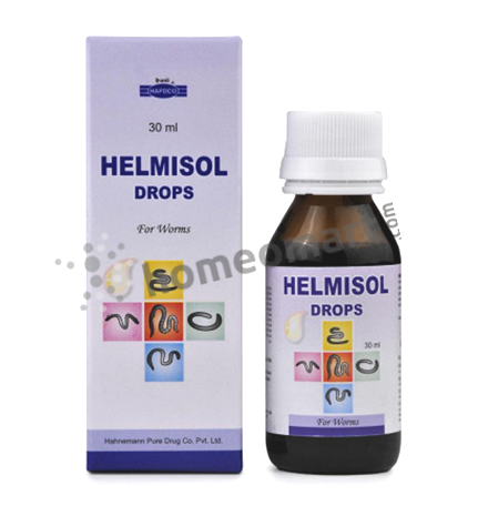 Hapdco Helmisol drops for intestinal worms, threadworms, hookworms