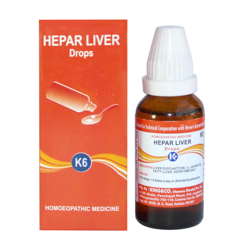 King & Co Hepar Liver Drops K6 for Jaundice, hepatic cirrhosis, fatty liver