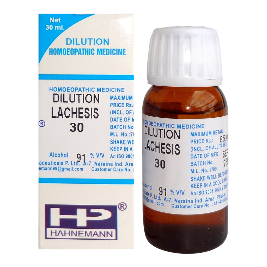 Lachesis Homeopathy Dilution 6C, 30C, 200C, 1M, 10M