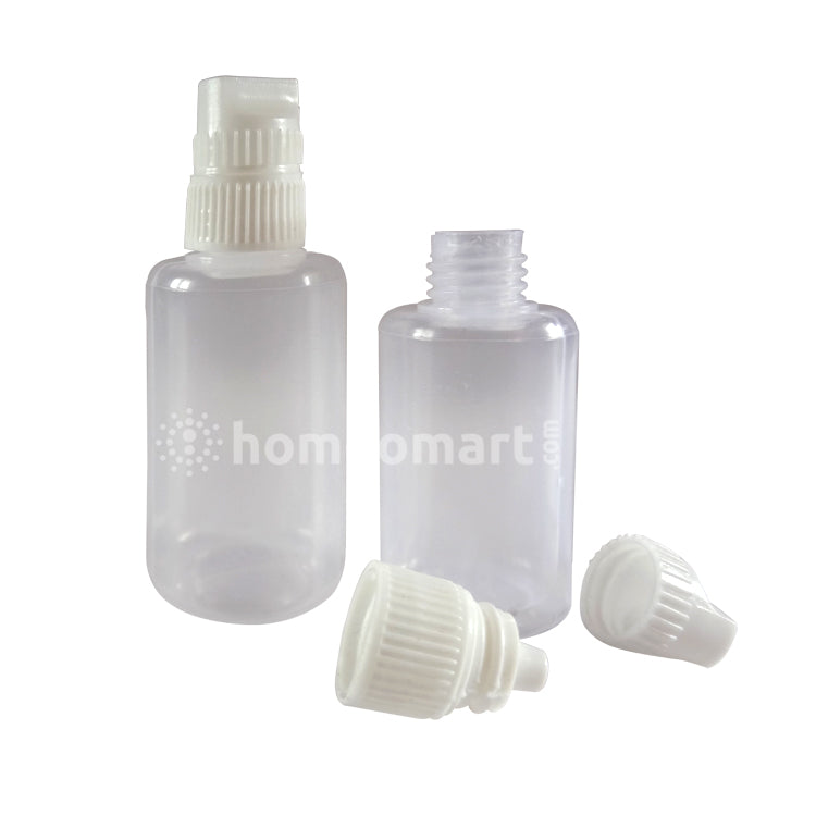 Plastic Liquid Dropper Double Cap Bottles - 100 Packing
