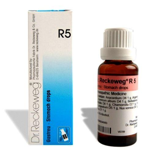 Dr.Reckeweg R5 Stomach drops for Indigestion, Reflux, Belching, Flatulence, Bloating