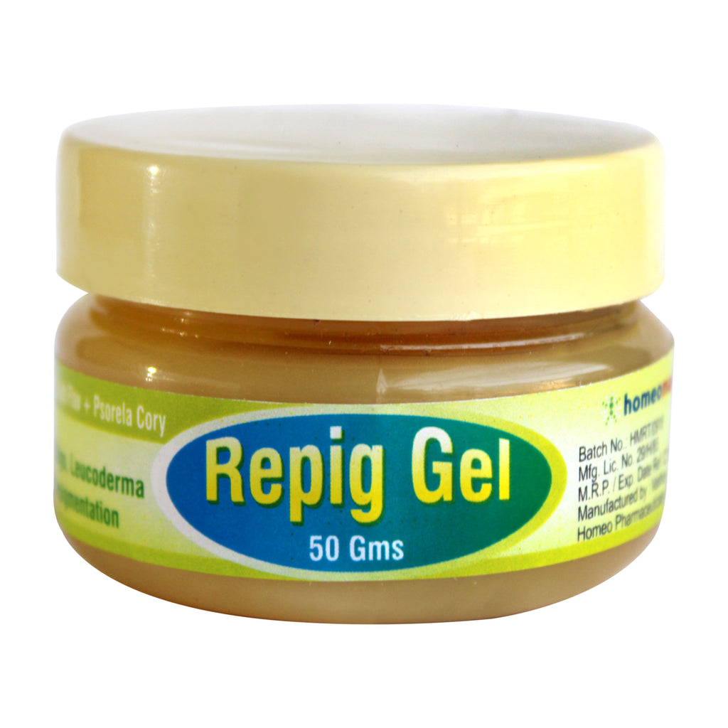 Repig Gel with Arsenic Sulph Flav, Psoralea Cory for Vitiligo, Leucoderma, Skin Depigmentation