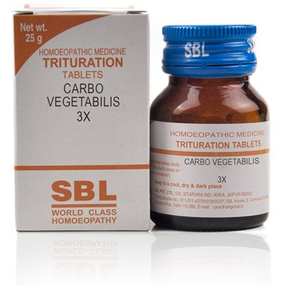 SBL Carbo Vegetabilis 3x, 6x Homeopathy Trituration Tablets