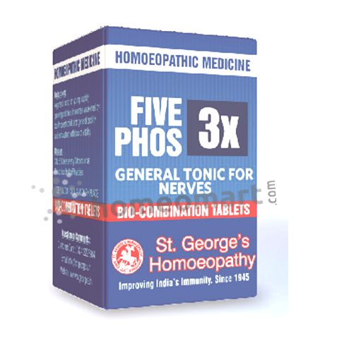 St. George's Five Phos 3X, 6X, 12X, general tonic for nerves