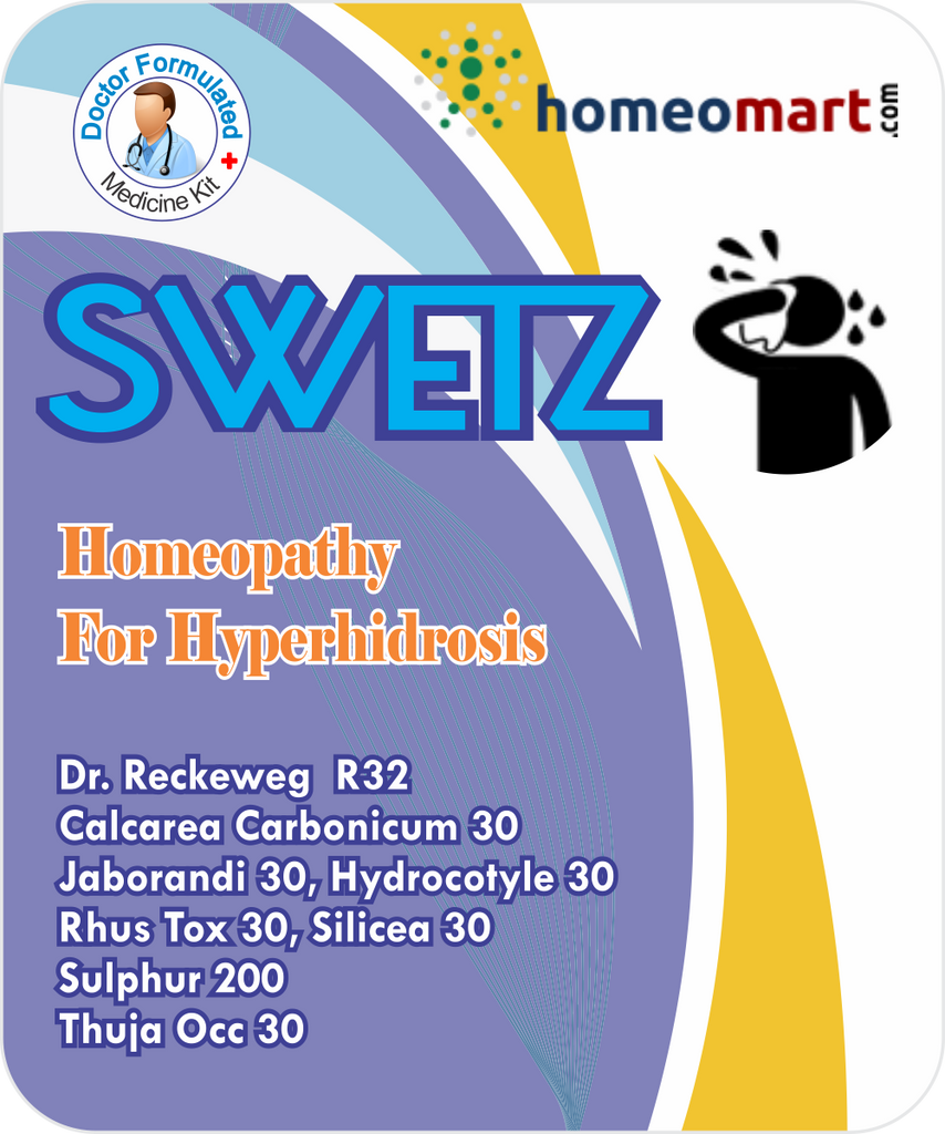 Swetz for Hyperhidrosis, excessive sweating with R32, Sulphur, Rhus Tox, Thuja